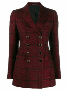 Tagliatore double breasted tartan blazer - Red