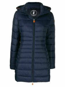 Save The Duck hooded padded midi coat - Blue