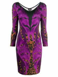 Just Cavalli botanical leopard print dress - PURPLE