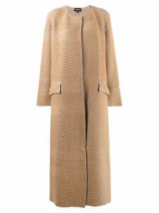 Giorgio Armani chevron midi coat - NEUTRALS