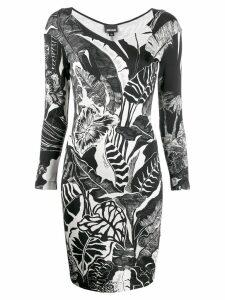 Just Cavalli leaf print dress - Black