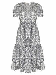 Ashish silver metallic sequin embellished midi dress