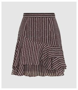 Reiss Lulu - Printed Flippy Skirt in Berry, Womens, Size 14