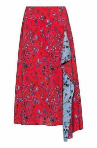 Cornflower print A-line skirt with volant detail