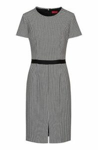 Pencil dress in houndstooth motif with tape waistband