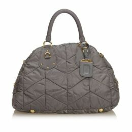Prada Gray Quilted Nylon Handbag