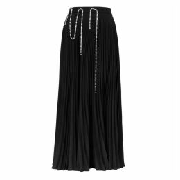 Christopher Kane Black Crystal-embellished Plissé Midi Skirt