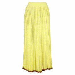 Christopher Esber Yellow Pleated Marl-knit Midi Skirt