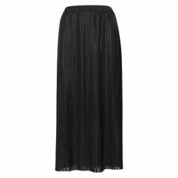 Replay Black Metallic-weave Plissé Midi Skirt