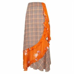 Preen Line Nevah Printed Panelled Midi Skirt