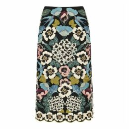 RED Valentino Black Floral-embroidered Midi Skirt