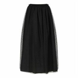 RED Valentino Black Point D'esprit Midi Skirt