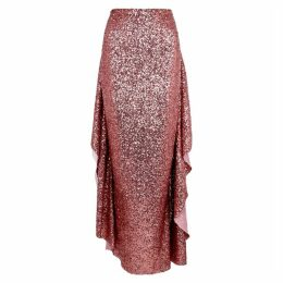 Paula Knorr Pink Draped Sequin Maxi Skirt