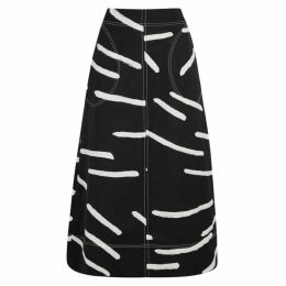 Lee Mathews Palmas Black Printed A-line Skirt