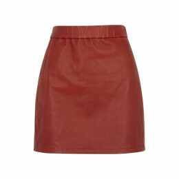 Helmut Lang Dark Red Leather Mini Skirt