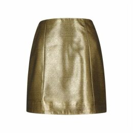 ALEXACHUNG Gold A-line Mini Skirt