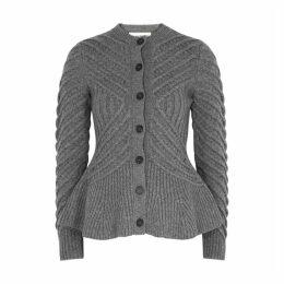 Alexander McQueen Grey Peplum Wool-blend Cardigan