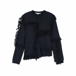 Stella McCartney Navy Fringed Wool Jumper