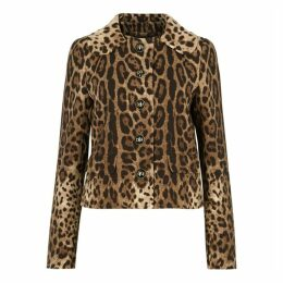 Dolce & Gabbana Leopard-print Cropped Wool Jacket
