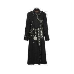 Burberry Lambskin Detail Studded Cotton Gabardine Trench Coat