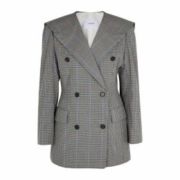PushBUTTON Grey Checked Cotton-blend Jacket