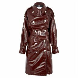 PushBUTTON Burgundy Grained PVC Over Coat