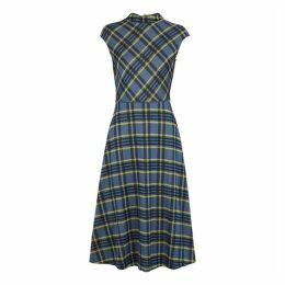 HUGO Narila Blue Checked Jersey Dress