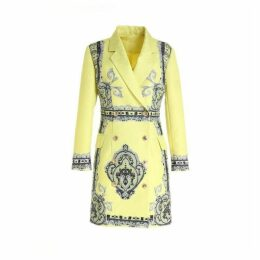 Comino Couture Fluorescent Yellow Blazer Dress