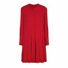 Valentino Red Logo-jacquard Silk Dress