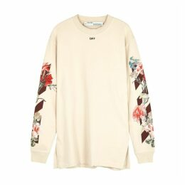 Off-White Cream Printed Cotton Sweatshirt Dress