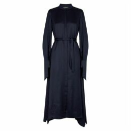 Roland Mouret Alleyne Navy Draped Satin Twill Dress