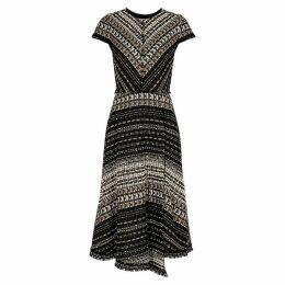 Paule Ka Textured Metallic-weave Bouclé-knit Midi Dress
