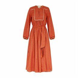 Forte forte Terracotta Fil Coupé Cotton-blend Midi Dress