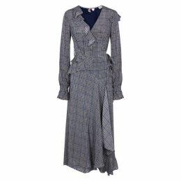 Preen Line Maieka Checked Wrap Maxi Dress