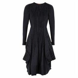 HIGH Jessy Navy Flocked Stretch-jersey Dress