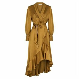Zimmermann Espionage Bronze Silk Wrap Dress