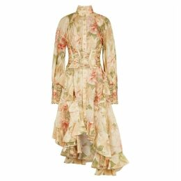 Zimmermann Espionage Floral-print Linen-blend Dress