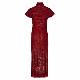 Paula Knorr Relief Red Metallic Velvet Maxi Dress