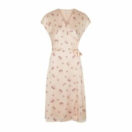 Joie Bethwyn Printed Silk Satin Wrap Dress