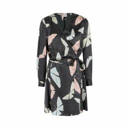 Forte forte Butterfly Print Hammered Silk Wrap Dress