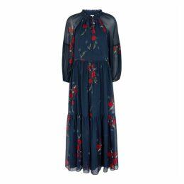 Joie Saffrona Navy Floral-print Silk Dress