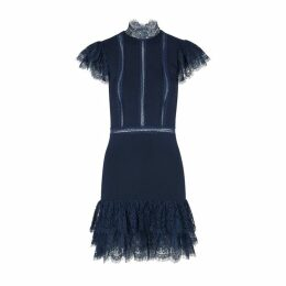 Alice + Olivia Roset Navy Lace-trimmed Mini Dress