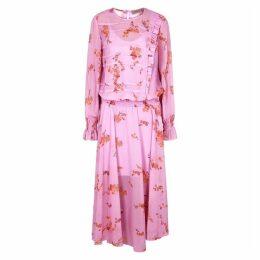 Preen Line Gilda Pink Floral-print Chiffon Midi Dress