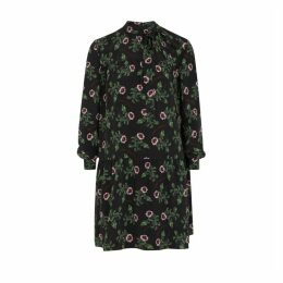 Valentino Black Floral-print Silk Dress