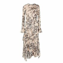Philosophy Di Lorenzo Serafini Blush Leaf-print Chiffon Midi Dress