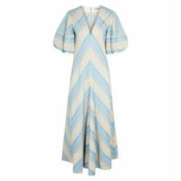 Lee Mathews Tilda Striped Linen-blend Dress