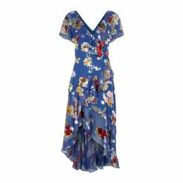 Alice + Olivia Electra Floral-devoré Asymmetric Dress
