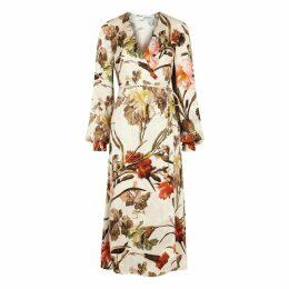 Off-White Ivory Floral-print Wrap Dress