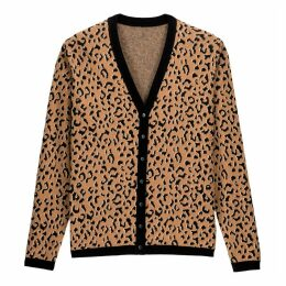 Cotton Mix Cardigan in Jacquard Leopard Print