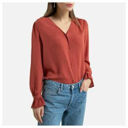 V-Neck Ruffled Blouse with Long Sleeves